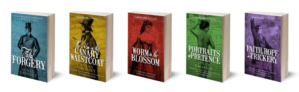 image of array of five books in Susan Grossey's historical financial crime seres