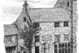 line drawing of an idyllic bookshop