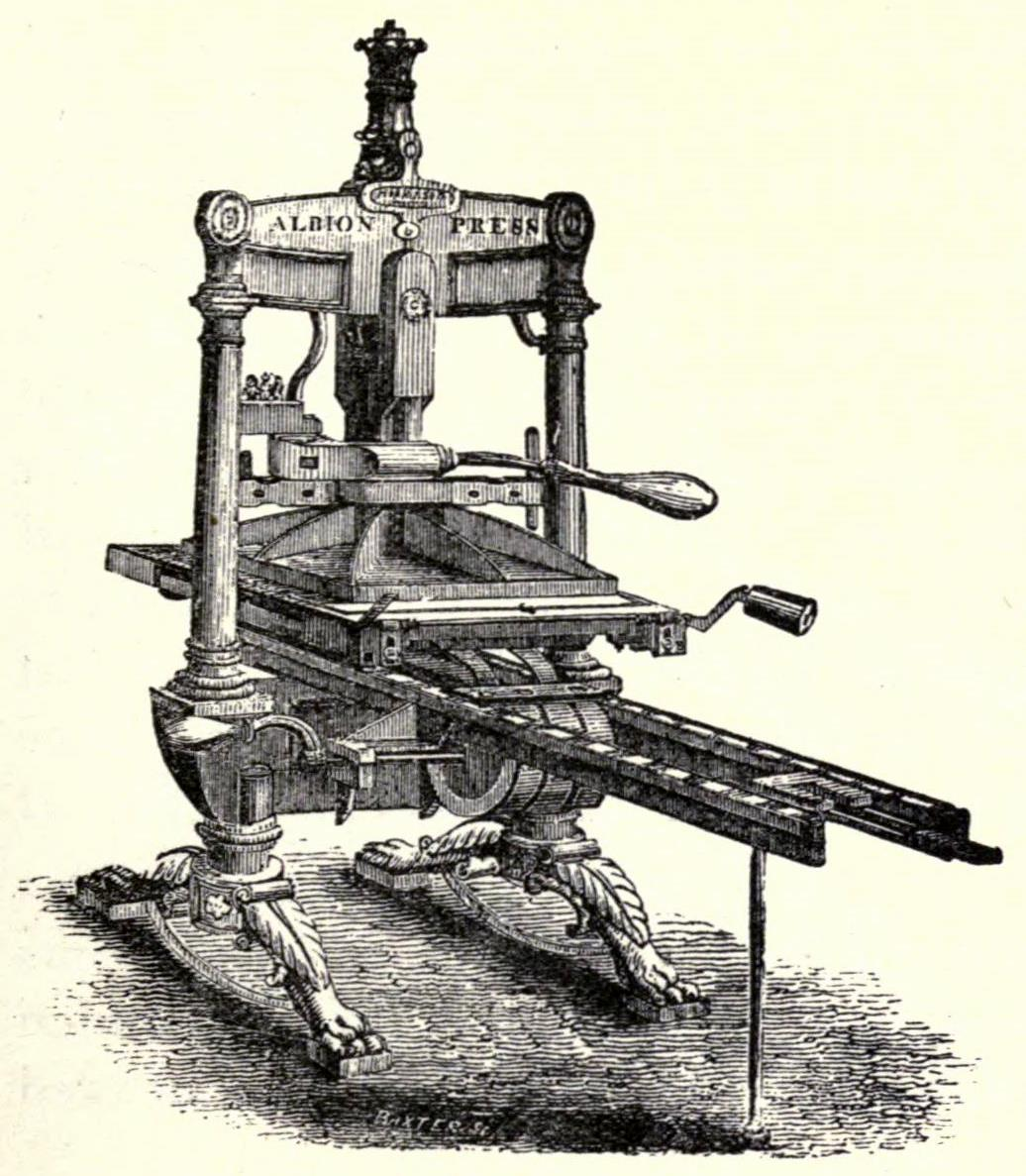 Woodcut Illustration Of An Old-fashioned Printing Press Public Domain