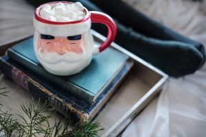 photo of Santa mug and books for jólabókaflóð