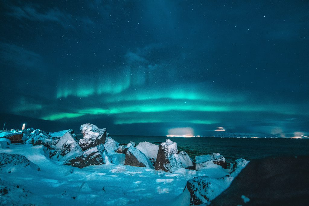 Icelandic landscape photo with northern lights