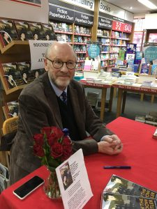 Richard Vaughan-Davies at his smartly presented WH Smith signing table