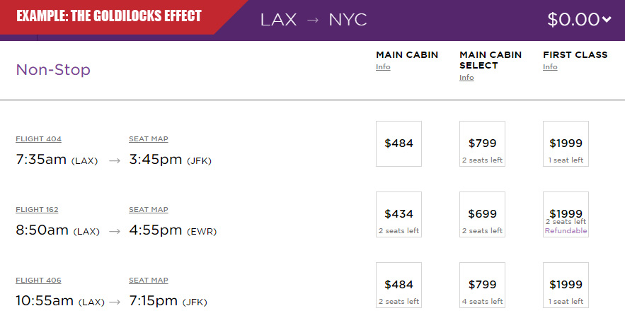 Virgin Airlines pricing