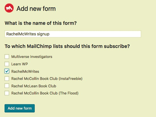 screen shot of configuration instructions for mailing list sign-ups
