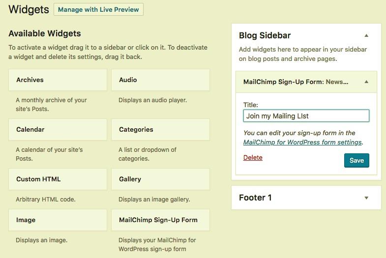 screenshot showing how to add the mailchimp widget on WordPress