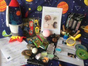 photo of lots of props that Sue took into school for World Book Day