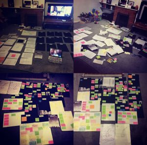 Image of Sacha's living room covered in plotter post it notes