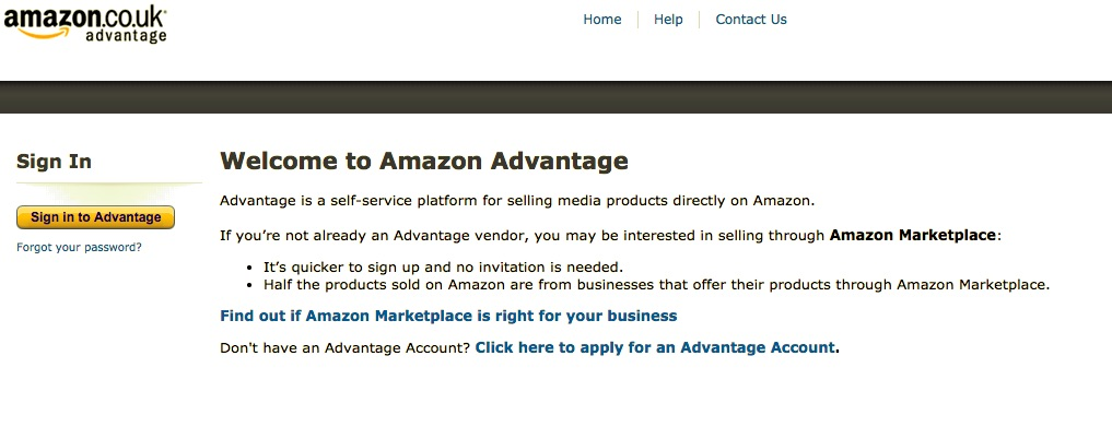 Image of the opening page for Amazon Advantage
