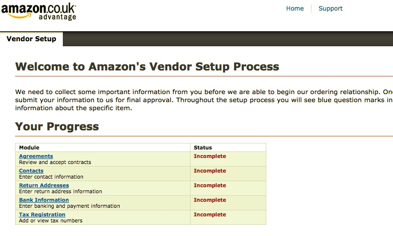 Image of the vendor set up page