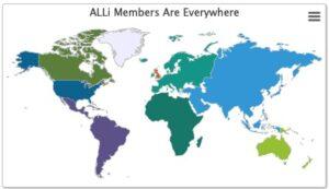 Map of world illustrating membership countries